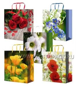 Сумочка бумажная 22х31х10 МЕГА (ML) ML-7116/7117/7118/7119/7120 (Цветы)