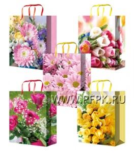 Сумочка бумажная 22х31х10 МЕГА (ML) ML-7066/7067/7068/7069/7070 (Цветы)