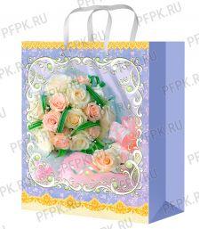 Сумочка бумажная 22х31х10 МЕГА (ML) ML-41848 (Цветы)