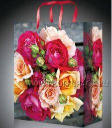 Сумочка бумажная 18х22х10 МЕГА (MP) MP-2076 (Букет роз); 200 шт