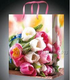 Сумочка бумажная 18х22х10 МЕГА (MP) MP-2077 (Тюльпаны); 200 шт