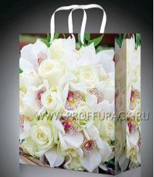 Сумочка бумажная 18х22х10 МЕГА (MP) MP-2079 (Белые розы); 200 шт