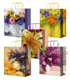Сумочка бумажная 18х22х10 МЕГА (MP) MP-2096/2097/2098/2099/2100 (Цветы); 200 шт