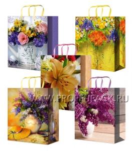 Сумочка бумажная 18х22х10 МЕГА (MP) MP-2096/2097/2098/2099/2100 (Цветы)
