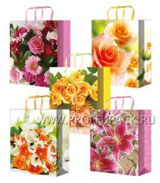 Сумочка бумажная 18х22х10 МЕГА (MP) MP-2081/2082/2083/2084/2085 (Цветы); 200 шт