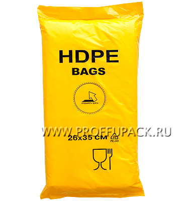 18+8х35 [26x35] евро HDPE BAGS, ЖЕЛТАЯ (упак.)