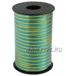 Лента на бобине цветная с золотой полосой 0,5см х 250м FIESTA Зеленая S-02