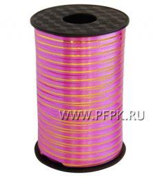 Лента на бобине цветная с золотой полосой 0,5см х 250м FIESTA Розовая S-03