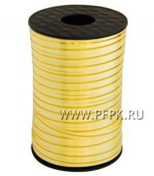 Лента на бобине цветная с золотой полосой 0,5см х 250м FIESTA Желтая S-07