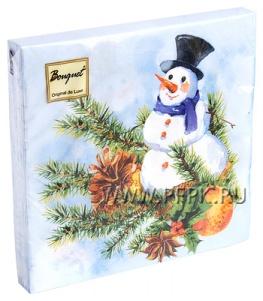 Салфетки НГ бум. DESNA BOUQUET 33х33, 2-сл.,с рис. (20 листов) Снеговик