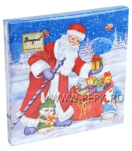 Салфетки НГ бум. DESNA BOUQUET 33х33, 2-сл.,с рис. (20 листов) Подарки от Деда Мороза
