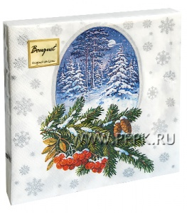 Салфетки НГ бум. DESNA BOUQUET 33х33, 2-сл.,с рис. (20 листов) Зимний лес