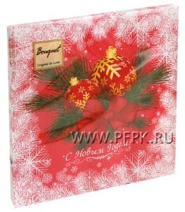 Салфетки НГ бум. DESNA BOUQUET 33х33, 2-сл.,с рис. (20 листов) Новогодние шары на красном