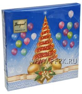 Салфетки НГ бум. DESNA BOUQUET 33х33, 2-сл.,с рис. (20 листов) Новогодний карнавал