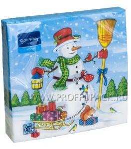 Салфетки НГ бум. DESNA BOUQUET 33х33, 2-сл.,с рис. (20 листов) Снеговик с подарками