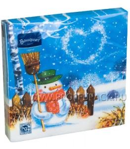 Салфетки НГ бум. DESNA BOUQUET 33х33, 2-сл.,с рис. (20 листов) Снежная ночь