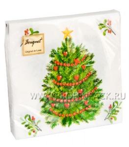 Салфетки НГ бум. DESNA BOUQUET 33х33, 2-сл.,с рис. (20 листов) Новогодняя ель
