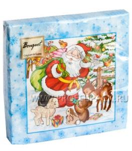 Салфетки НГ бум. DESNA BOUQUET 33х33, 2-сл.,с рис. (20 листов) Лесная сказка на голубом