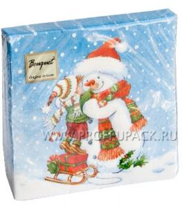 Салфетки НГ бум. DESNA BOUQUET 33х33, 2-сл.,с рис. (20 листов) Мальчик и снеговик