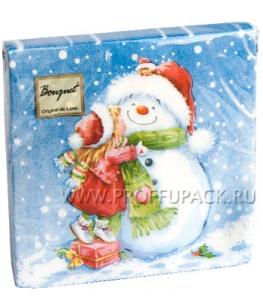 Салфетки НГ бум. DESNA BOUQUET 33х33, 2-сл.,с рис. (20 листов) Девочка и снеговик
