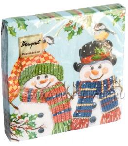 Салфетки НГ бум. DESNA BOUQUET 33х33, 2-сл.,с рис. (20 листов) Пара снеговиков