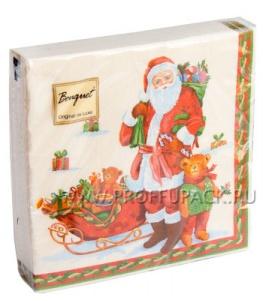 Салфетки НГ бум. DESNA BOUQUET 33х33, 2-сл.,с рис. (20 листов) Дед Мороз с подарками