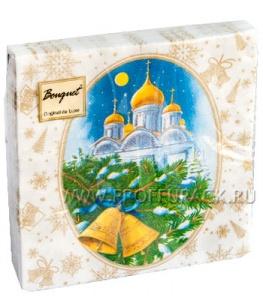 Салфетки НГ бум. DESNA BOUQUET 33х33, 2-сл.,с рис. (20 листов) Рождественская ночь (золото)