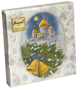 Салфетки НГ бум. DESNA BOUQUET 33х33, 2-сл.,с рис. (20 листов) Рождественская ночь (серебро)