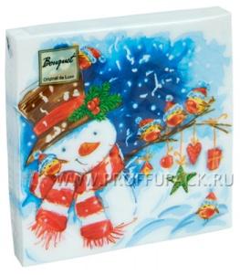 Салфетки НГ бум. DESNA BOUQUET 33х33, 2-сл.,с рис. (20 листов) Акварельный снеговик