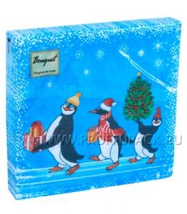 Салфетки НГ бум. DESNA BOUQUET 33х33, 2-сл.,с рис. (20 листов) Веселые пингвины