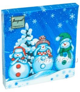 Салфетки НГ бум. DESNA BOUQUET 33х33, 2-сл.,с рис. (20 листов) Мудрые снеговики