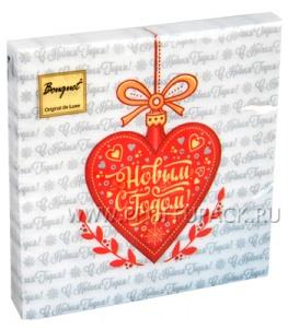 Салфетки НГ бум. DESNA BOUQUET 33х33, 2-сл.,с рис. (20 листов) Новогоднее сердце