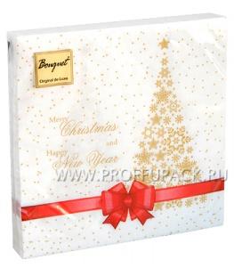Салфетки НГ бум. DESNA BOUQUET 33х33, 2-сл.,с рис. (20 листов) Подарок красная лента NEW