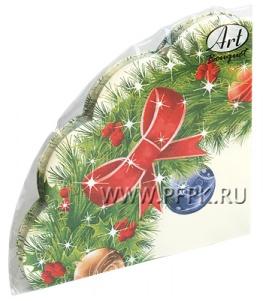 Салфетки НГ бум. DESNA RONDO, 3-сл., с рис (12 листов) Новогодний венок-2
