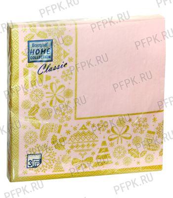 Салфетки НГ бум. DESNA HOME COLLECTION CLASSIC (20 листов) Новогодняя скатерть Золото на розовом