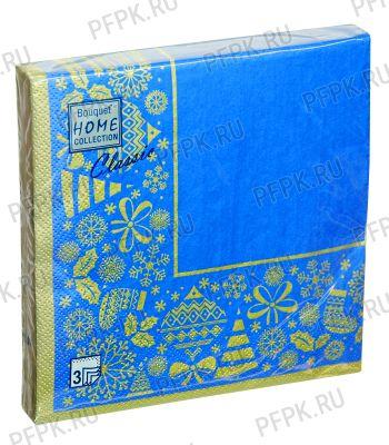 Салфетки НГ бум. DESNA HOME COLLECTION CLASSIC (20 листов) Новогодняя скатерть Золото на синем