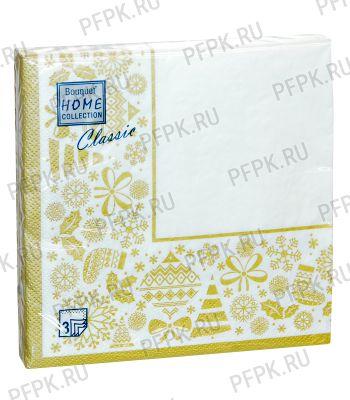 Салфетки НГ бум. DESNA HOME COLLECTION CLASSIC (20 листов) Новогодняя скатерть Золото на белом
