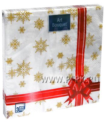 Салфетки НГ бум. DESNA BOUQUET 33х33, 3-сл.,с рис. (20 листов) Подарок красная лента
