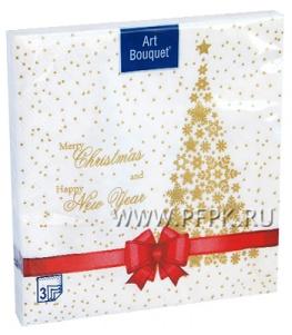Салфетки НГ бум. DESNA BOUQUET 33х33, 3-сл.,с рис. (20 листов) Подарок красная лента NEW