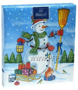 Салфетки НГ бум. DESNA BOUQUET 33х33, 3-сл.,с рис. (20 листов) Снеговик с подарками