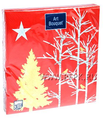 Салфетки НГ бум. DESNA BOUQUET 33х33, 3-сл.,с рис. (20 листов) Золотое дерево на красном