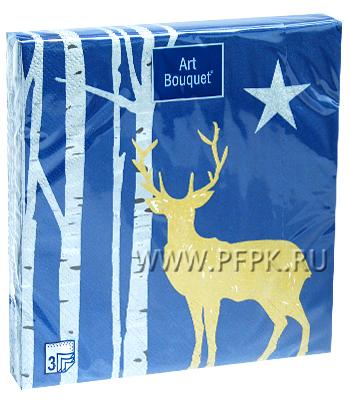 Салфетки НГ бум. DESNA BOUQUET 33х33, 3-сл.,с рис. (20 листов) Золотой олень на синем