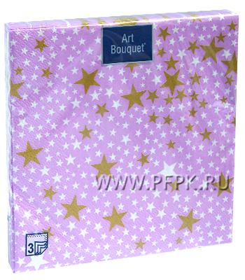 Салфетки НГ бум. DESNA BOUQUET 33х33, 3-сл.,с рис. (20 листов) Золотые звезды на сиреневом