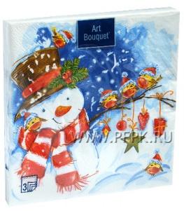 Салфетки НГ бум. DESNA BOUQUET 33х33, 3-сл.,с рис. (20 листов) Акварельный снеговик
