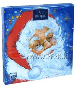 Салфетки НГ бум. DESNA BOUQUET 33х33, 3-сл.,с рис. (20 листов) Добрый Дед Мороз