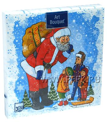 Салфетки НГ бум. DESNA BOUQUET 33х33, 3-сл.,с рис. (20 листов) Дядя Степа-Дед Мороз