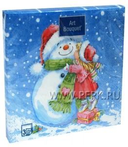 Салфетки НГ бум. DESNA BOUQUET 33х33, 3-сл.,с рис. (20 листов) Девочка и снеговик