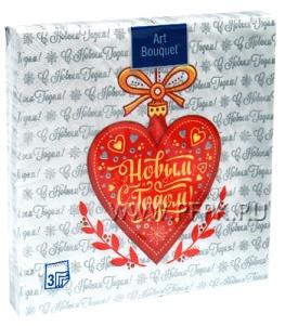 Салфетки НГ бум. DESNA BOUQUET 33х33, 3-сл.,с рис. (20 листов) Новогоднее сердце