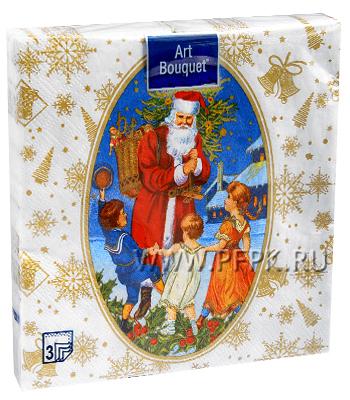 Салфетки НГ бум. DESNA BOUQUET 33х33, 3-сл.,с рис. (20 листов) Новогодняя сказка