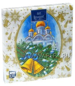 Салфетки НГ бум. DESNA BOUQUET 33х33, 3-сл.,с рис. (20 листов) Рождественская ночь золото